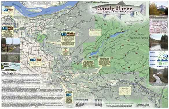 sandy river oregon map Sandy River Map Troutdale Or Fishwatermaps Com sandy river oregon map